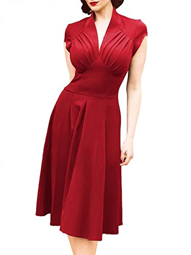 ILover Women Deep-V Neck Elegant Sleeveless Vintage Bridesmaid Dress