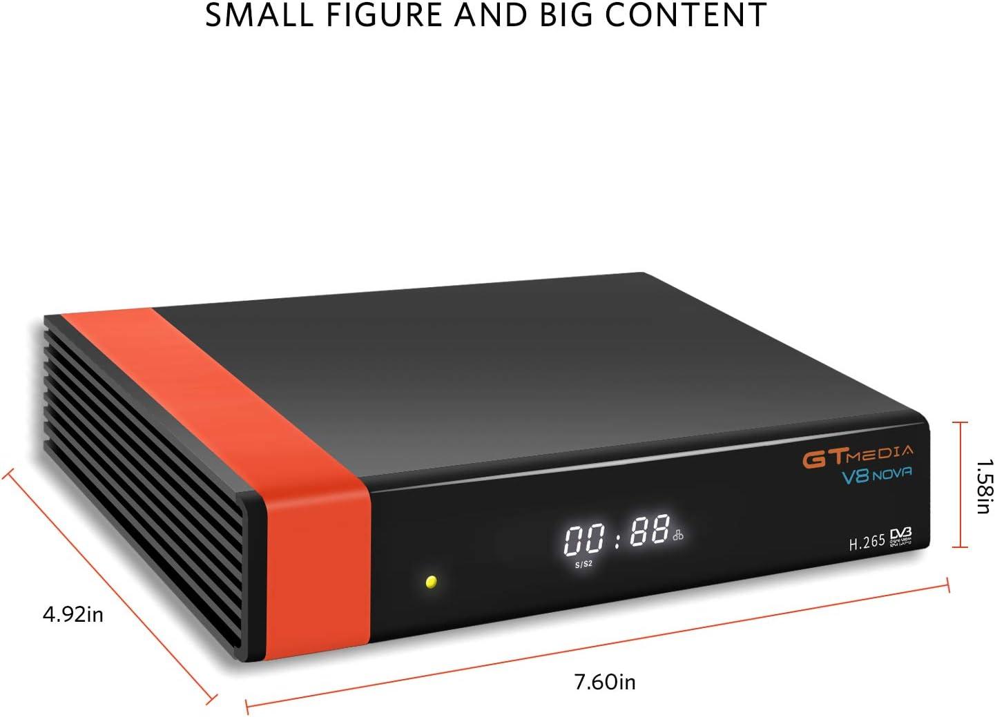 GT Media V8 Nova DVB-S2 Decodificador Satélite Receptor de TV Digital con Wi-Fi Incorporado / SCART / 1080P Full HD / FTA Soporte CC CAM, PVR Ready, Newcam, Youtube, PowerVu Dre Biss