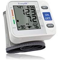 TempIR Wrist Blood Pressure Monitor. Large Cuff. Fully Automatic. Pulse Diastolic Systolic and Hypertension Level. Home Use. Memory Store