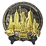 New York Souvenir Metal Embossed Plate with Statue of Liberty Empire State Building Freedom Tower NYC Skyline 7 Inch Diameter