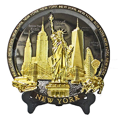 Plate Wall Souvenir (New York Souvenir Metal Embossed Plate with Statue of Liberty Empire State Building Freedom Tower NYC Skyline 7 Inch Diameter)