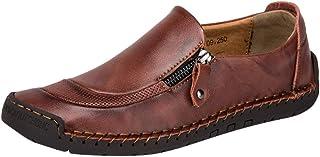 Chaussures de Ville DéContractéEs à Fermeture à GlissièRe pour Hommes,Kinlene Chaussures en Cuir DéContractéEs et Respirantes à Bout Rond et à Enfiler
