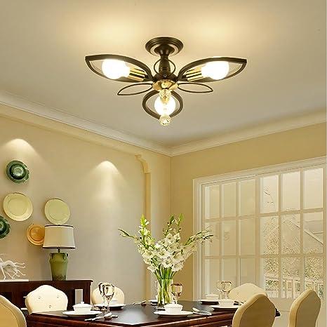 Lampadari Per Salotto Classico.E27 Lampada Da Salotto Lampada Da Soffitto In Metallo Nero