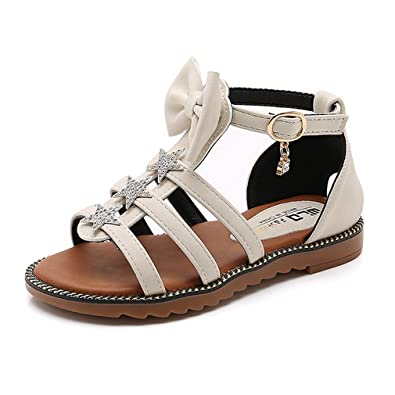 5040b5b08d30d Image Unavailable. Image not available for. Color  CYBLING Girls Strappy  Gladiator Sandals Ankle Strap Comfort Flat Roman Shoes (Toddler Little Kid