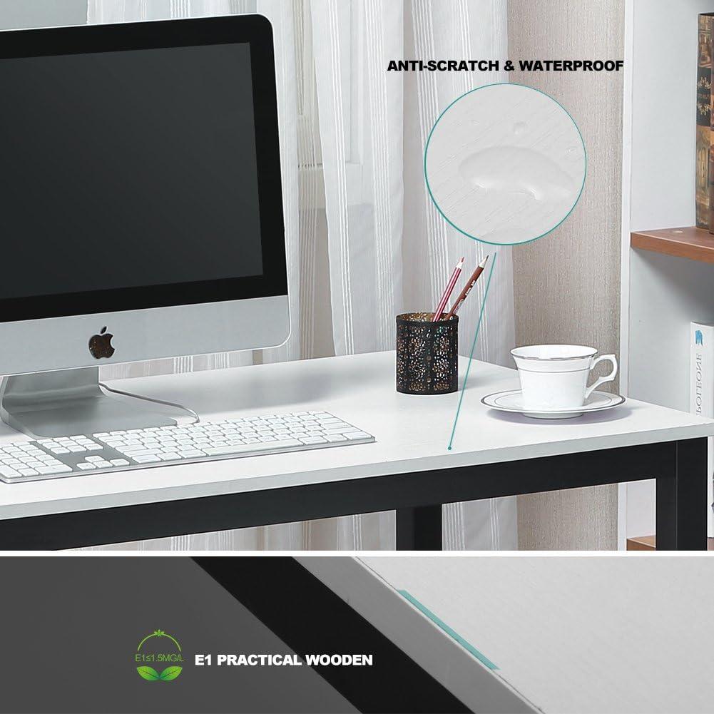 Coleshome Computer Desk 39 Modern Sturdy Office Desk Study Writing Desk for Home Office Teak