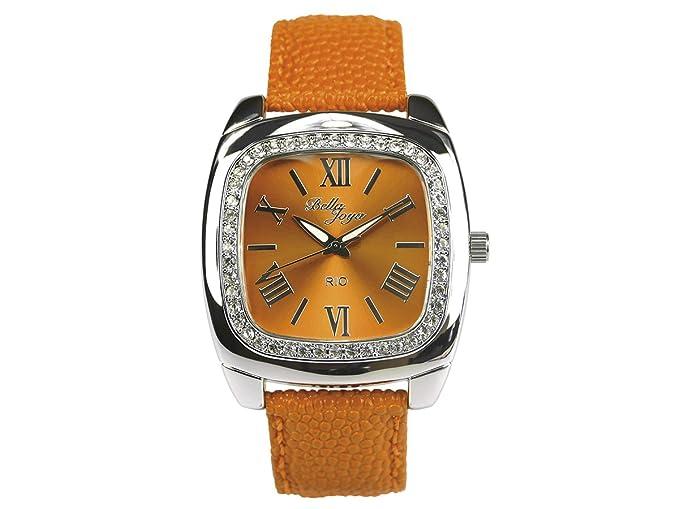 """Bella joya Mujer Reloj """"Rio, correa de piel auténtica naranja"""