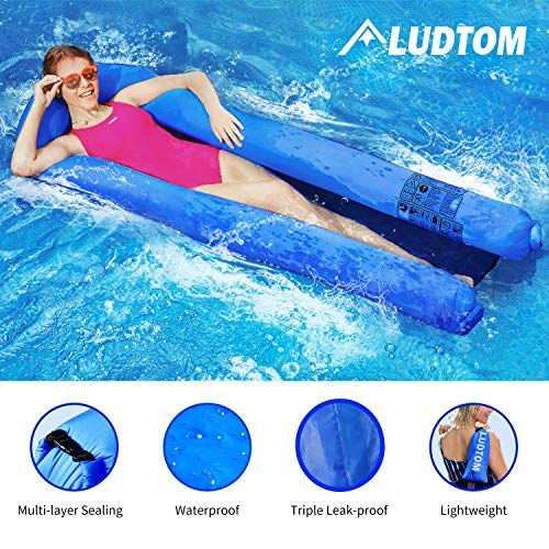 - ludtom Inflatable Pool Floats Water Hammock for Adults 440lb Capacity Pool Float Swimming Pool Lounger No Pump Needed with Compact Carry Bag【2019 Upgraded】