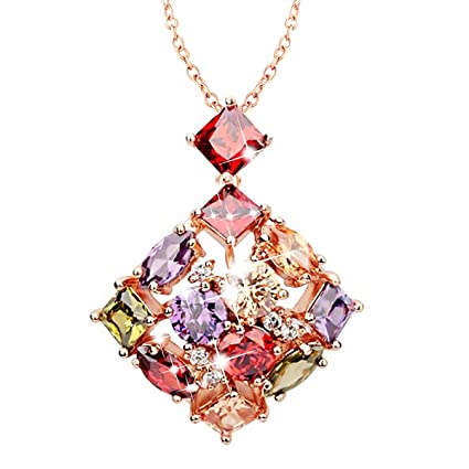 0cbf0fc8c3 Image Unavailable. Image not available for. Color: Morenitor Jewelry  Necklace Rose Gold Plated Shinning Multi Color AAA Cubic Zirconia ...