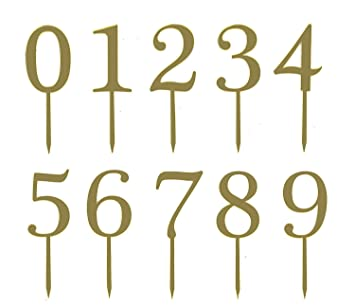 Gold Acrylic Numbers 0 9 Cake Toppers Table 5quot Tall In Total Set