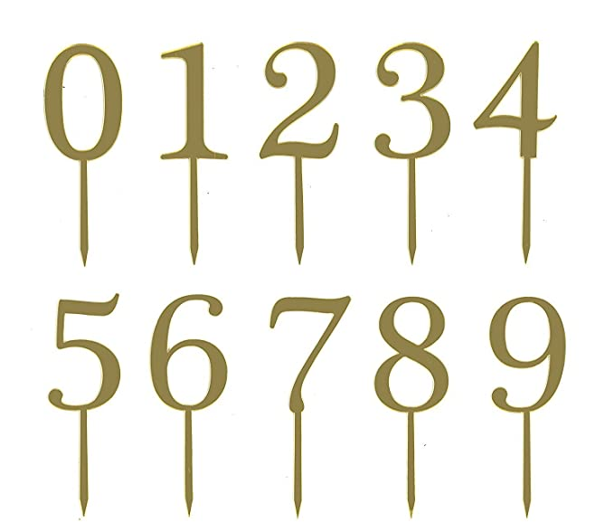 Gold Acrylic Numbers 0 9 Cake Toppers Table 5 Tall In Total Set Of 10 For Wedding Anniversary Or Birthday Party Decorations Handmade And Sold By