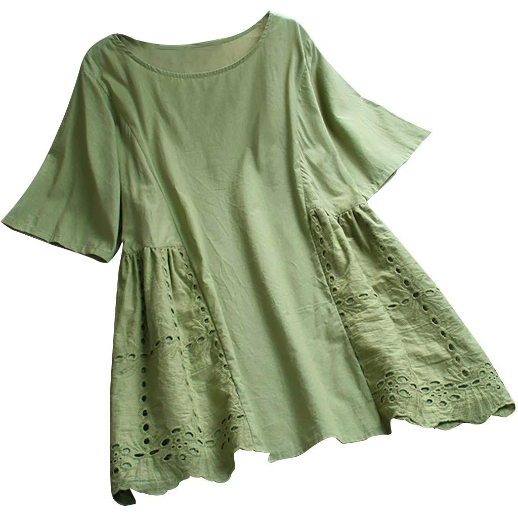Psunrise Women Vintage Solid Lace O-Neck Short Sleeve Pleated Hollow Out Top T-Shirt Blouse Arriba Plus Size (3XL, Green) by Psunrise