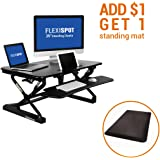 "FlexiSpot 35"" Wide Platform Height Adjustable Standing Desk Riser, Removable Keyboard Tray, Black (M2B-M-SIZE)"