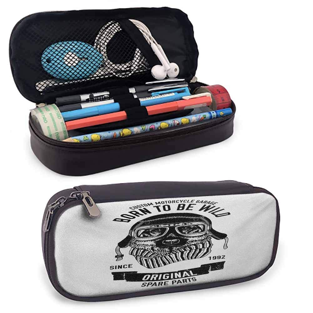 Modern Pencil Case Born to be Wild Quote with A Cool Dog Motorcycle Helmet Puppy Rider Animal Graphic Junior High School, High School, College Pencil Case W3.5xL7.9 Black White