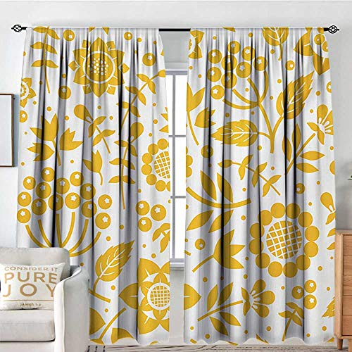 NUOMANAN Curtains for Bedroom Yellow Flower,Rustic Composition with Berries Twigs Graphic Flora Nature Leaves Pattern,Yellow White,Darkening and Thermal Insulating Draperies 54