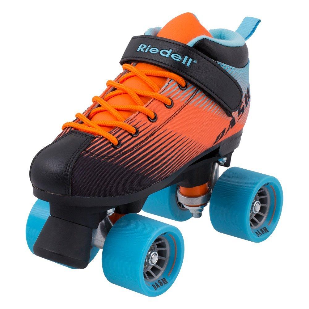 Riedell Skates - Dash - Indoor Quad Roller Skate for Kids | Aqua & Orange | Size 6 |