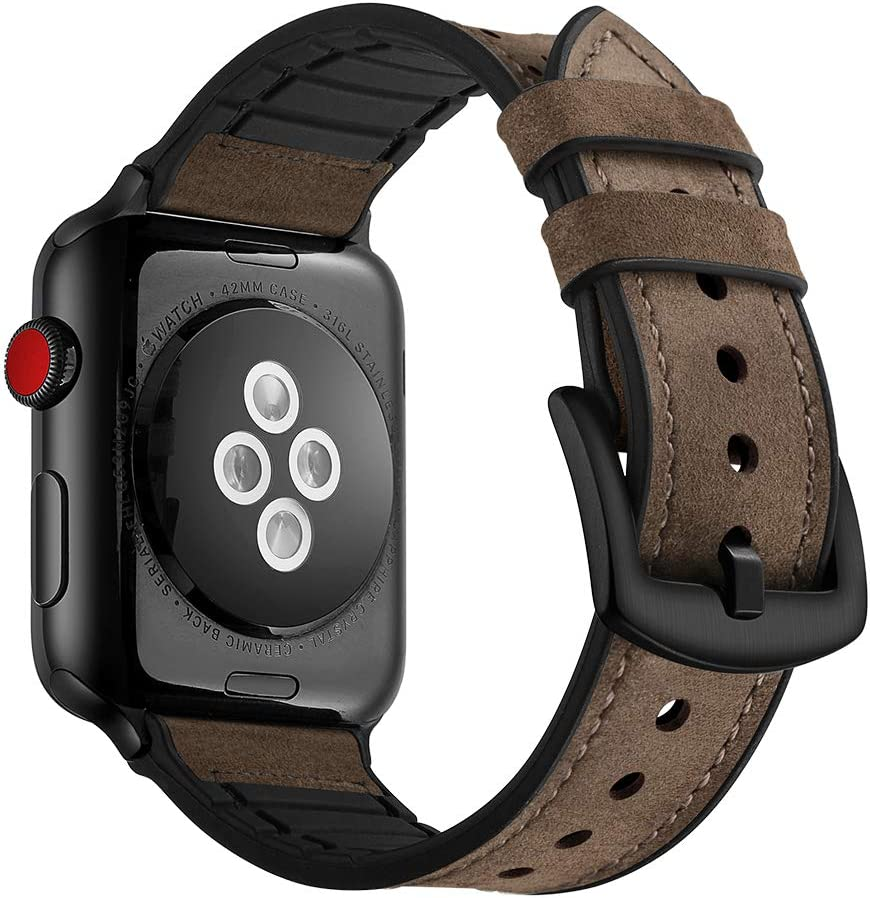 Hybrid Leather Sports Band Compatible with Apple Watch 42mm 44mm, RUCHBA Luxury Comfort Practicality Sweatproof Silicone Leather Replacement Straps Compatible with iwatch Space Black 4 1 2 3 Dark Brow