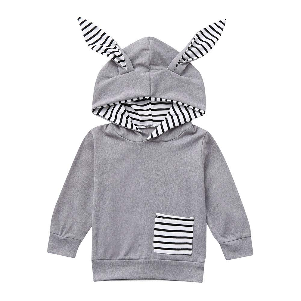 Clode for 0-4 Years Old Toddler Infant Baby Boys Girls Cartoon Ear Striped Hooded Tops Sweatshirt Outfit Clode-TS-00387