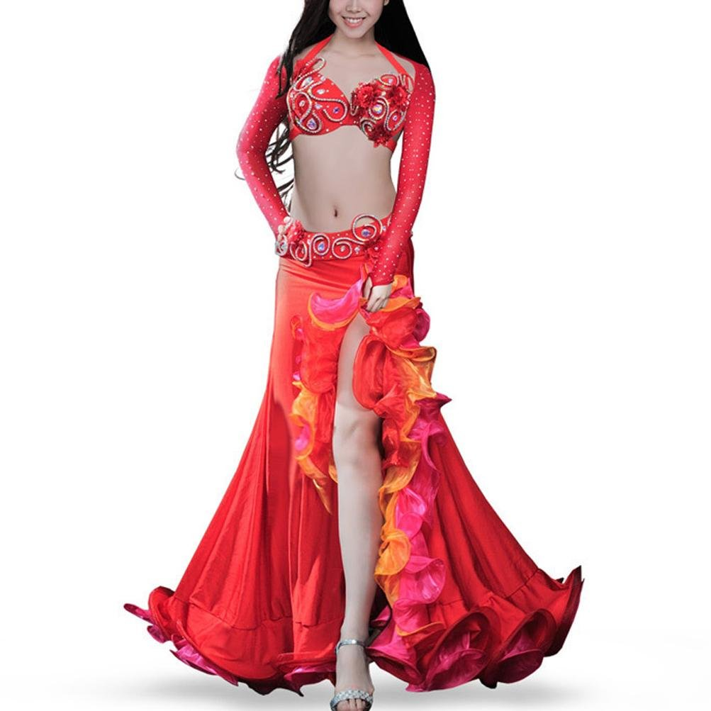 YuLin More Color Belly Dance Costume Set For Girls Performance Dress Professional Outfit With Rhinestone/Glass Drill 4 Pcs, Red, S