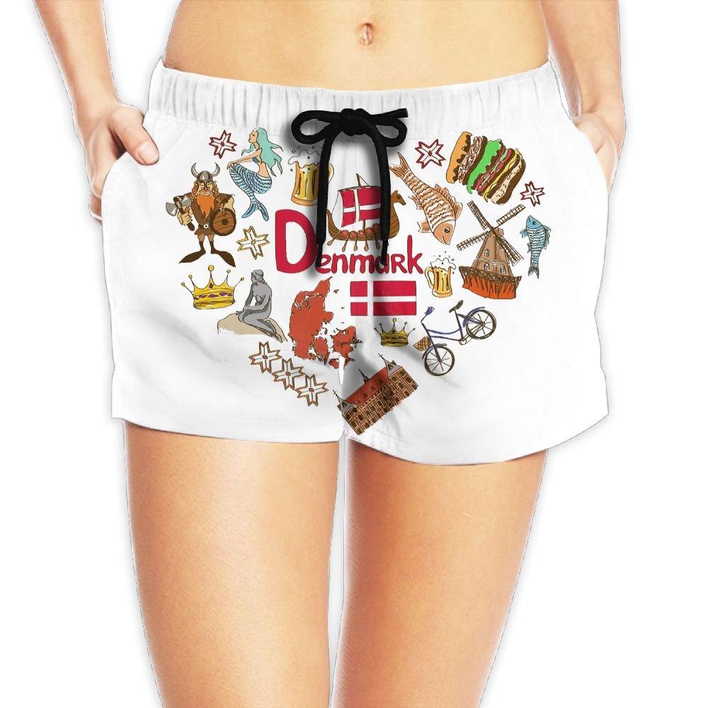 Travel to Denmark Women Fashion Sexy Quick Dry Lightweight Hot Pants Waist Beach Shorts Swimming Trunks