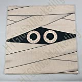 HT&PJ Decorative Cotton Linen Square Throw Pillow Case Cushion Cover Vintage Mummy Halloween Gift 18 x 18 Inches