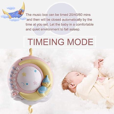 Crib Mobile mit Nachtlicht und Projektor Rasseln mit Sternen Musikbox f/ür Kinder Licht blinken Neugeborene und Babys SayHia Baby Mobile f/ür Babybetten mit Musik