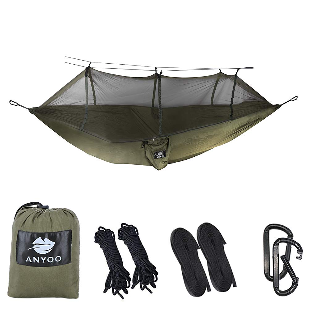 Anyoo Ultra-Light Strong Camping Hammock | Multiple-use, Easy to Carry, Nylon Parachute Fabric, 2 x Premium Carabiners, 2 x Nylon Slings Included | for Outdoor Indoor Garten