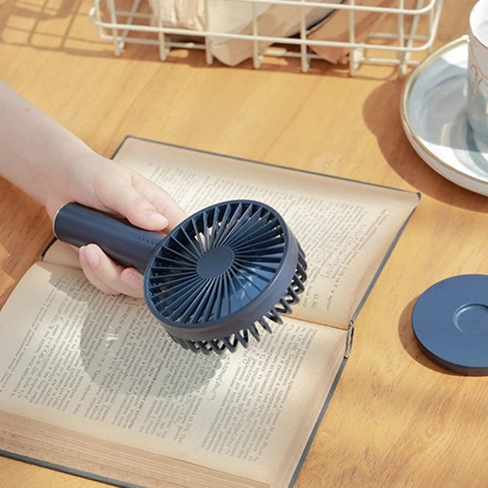 Handheld Electric Fan Color : Dark Blue USB Mini Rechargeable with Mirror Five-Speed Wind Portable Silent Dormitory Office Fan