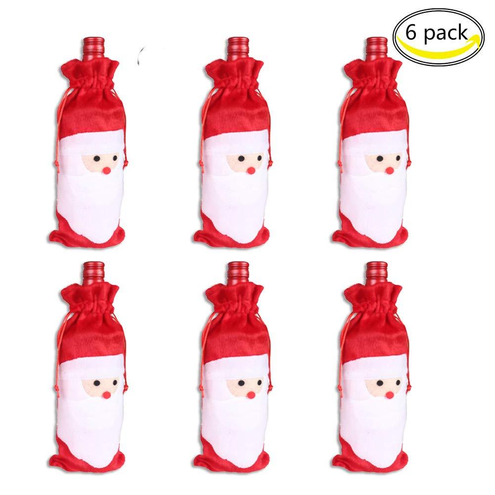 CHBOP Sacchetti della Copertura della Bottiglia di Vino di Natale del Babbo Natale di 6 Pacchetti Decorazione Domestica del Partito