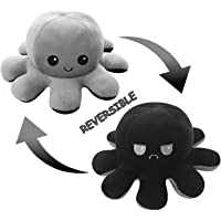 Reversible Mood Soft Plush Toy, Flip Stuffed Animal Doll, Great for Kids and Adults (Black & Grey)