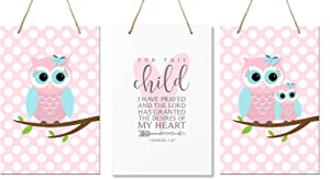 "LifeSong Milestones for This Child I Have Prayed 3pc Owl Wall Decor Decorations Hanging Signs for Kids, Bedroom, Nursery, Baby Boys and Girls Room Size 8"" x 12"" 3pc Set (Pink & Blue)"