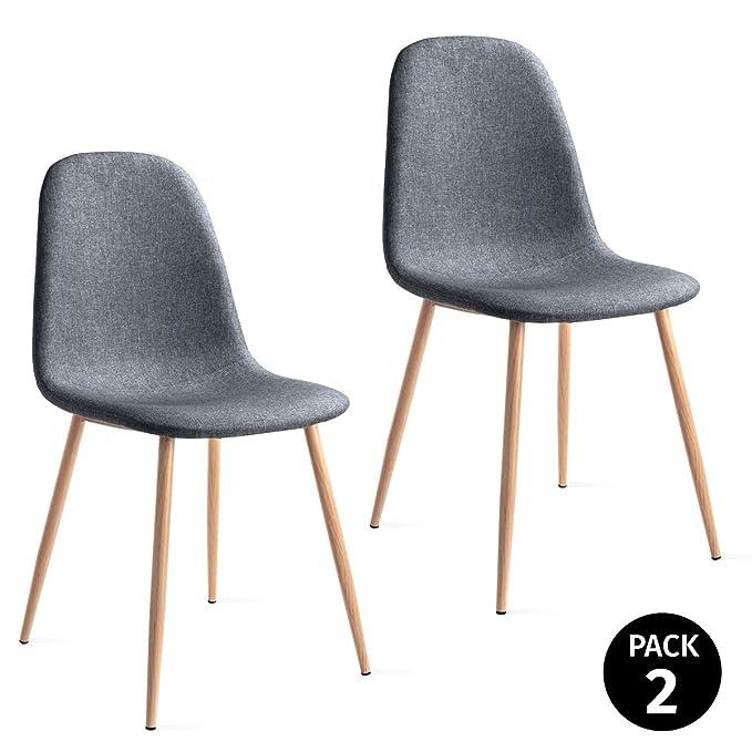 Mc Haus Gris Perla Pack 2 sillas ELVA diseño nordico para Comedor 46x43x86cm, Telas