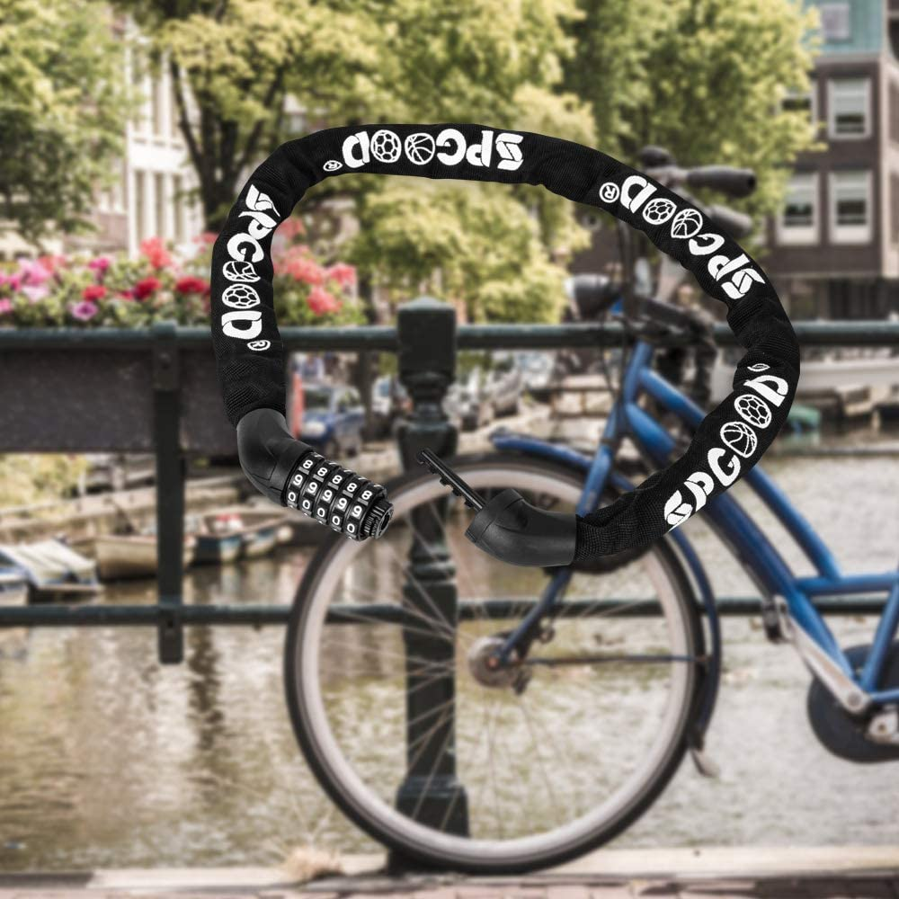 SPGOOD Fahrradschloss Fahrrad 4CM-100CM zahlenschloss Stahlkettenglieder Kettenschloss f/ür Fahrr/äd,Grill Motorrad Tor Zaun 100 cm L/änge T/ür