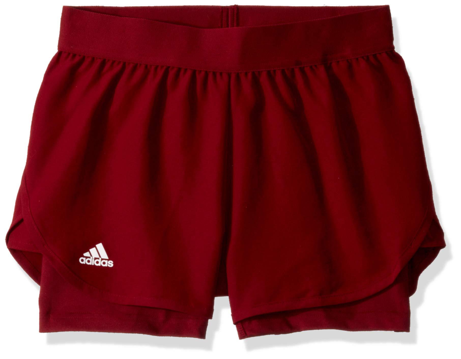 adidas Junior Girls' Club Tennis Shorts, Collegiate Burgundy/Collegiate Burgundy, X-Small