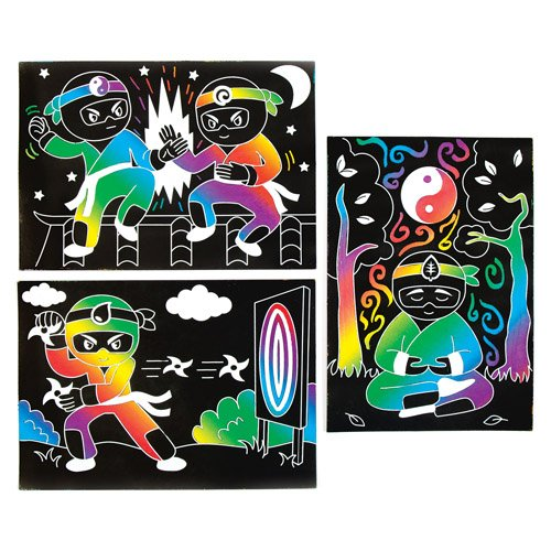 Creative Picture Craft Set for Kids Baker Ross Ninja Scratch Art Scenes for Children to Design Make and Display Pack of 6
