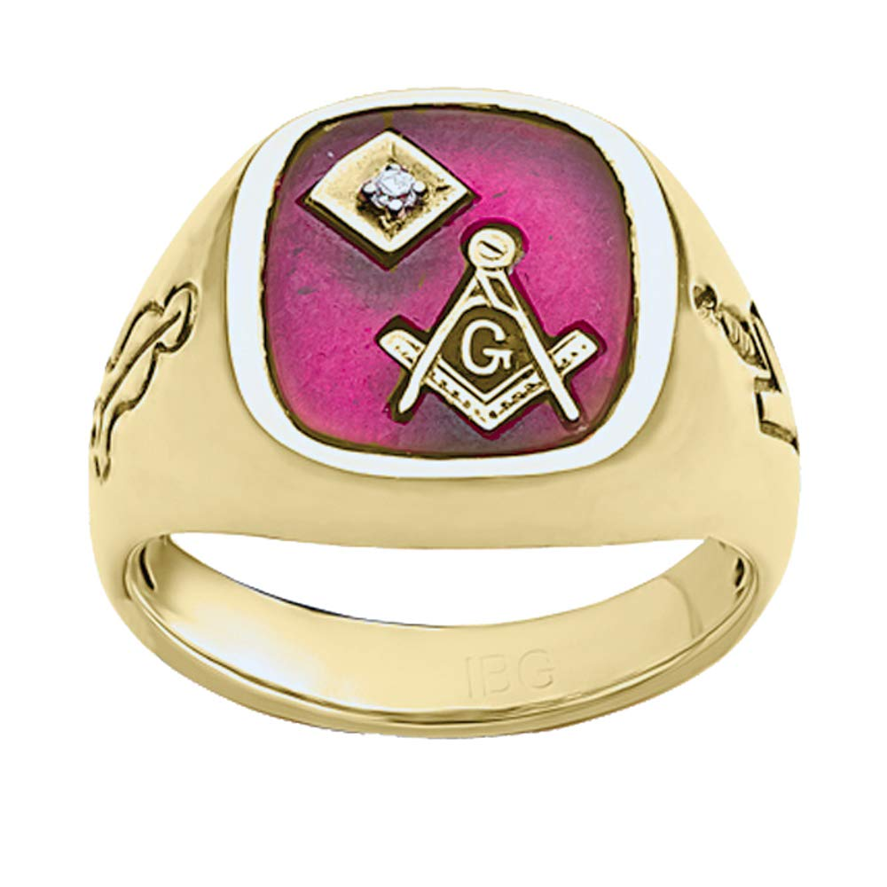 Galleon - 10k Yellow Gold Antique Ruby And Genuine Diamond