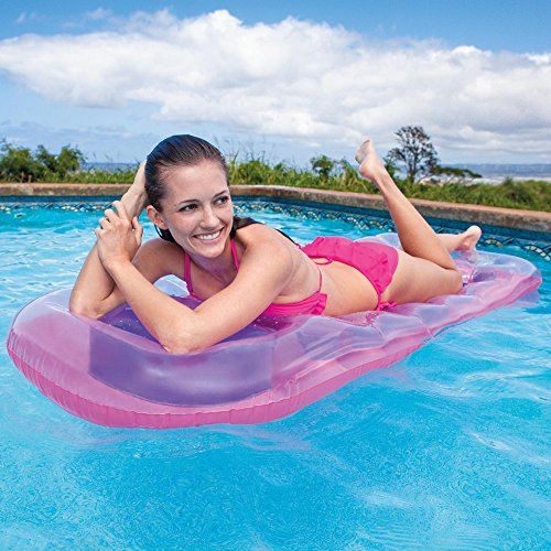 """Intex 18-Pocket Suntanner Inflatable Lounge, 74"""" X 28"""", 1 Pack (Colors May Vary)"""