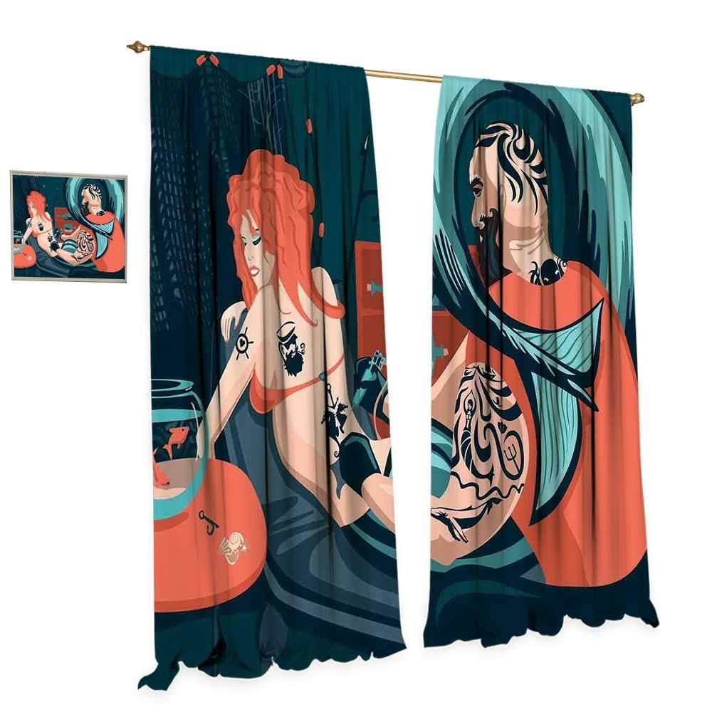 Mermaid Decor Window Curtain Drape Tattoo Master Sailor Draws on The Body of a Mermaid Workshop Tattooist Decorative Curtains for Living Room W72 x L96