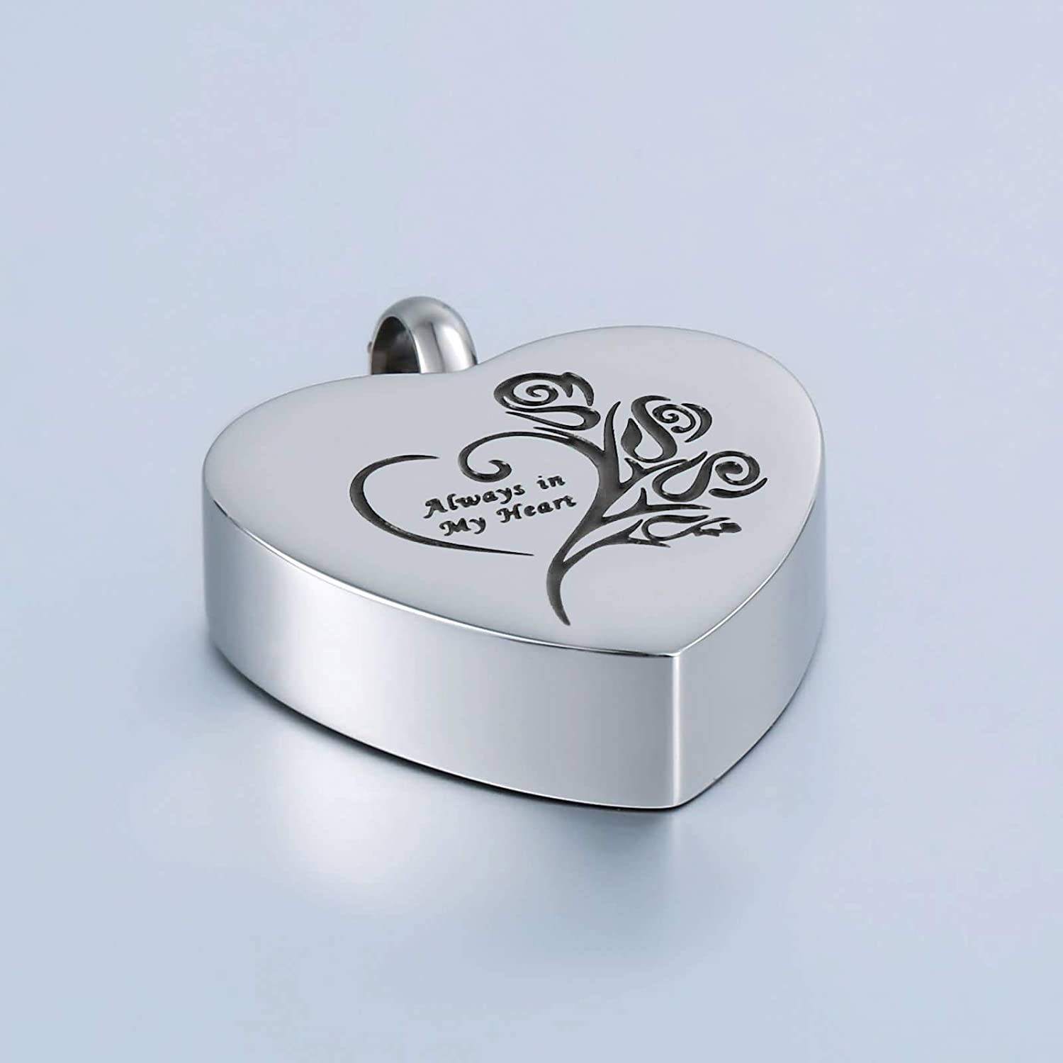 Aienid Necklace Silver Women Ashes Pendant Heart Shaped Lettering Silver