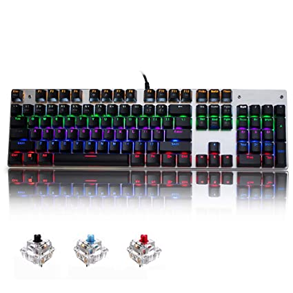 8249217b8b8 Amazon.com: AODERTYUS Gaming Mechanical Keyboard 87/104 Keys USB Wired  Keyboard Blue/Red/Black Switch Backlit Keyboard English/Russian/Spanish:  Computers & ...