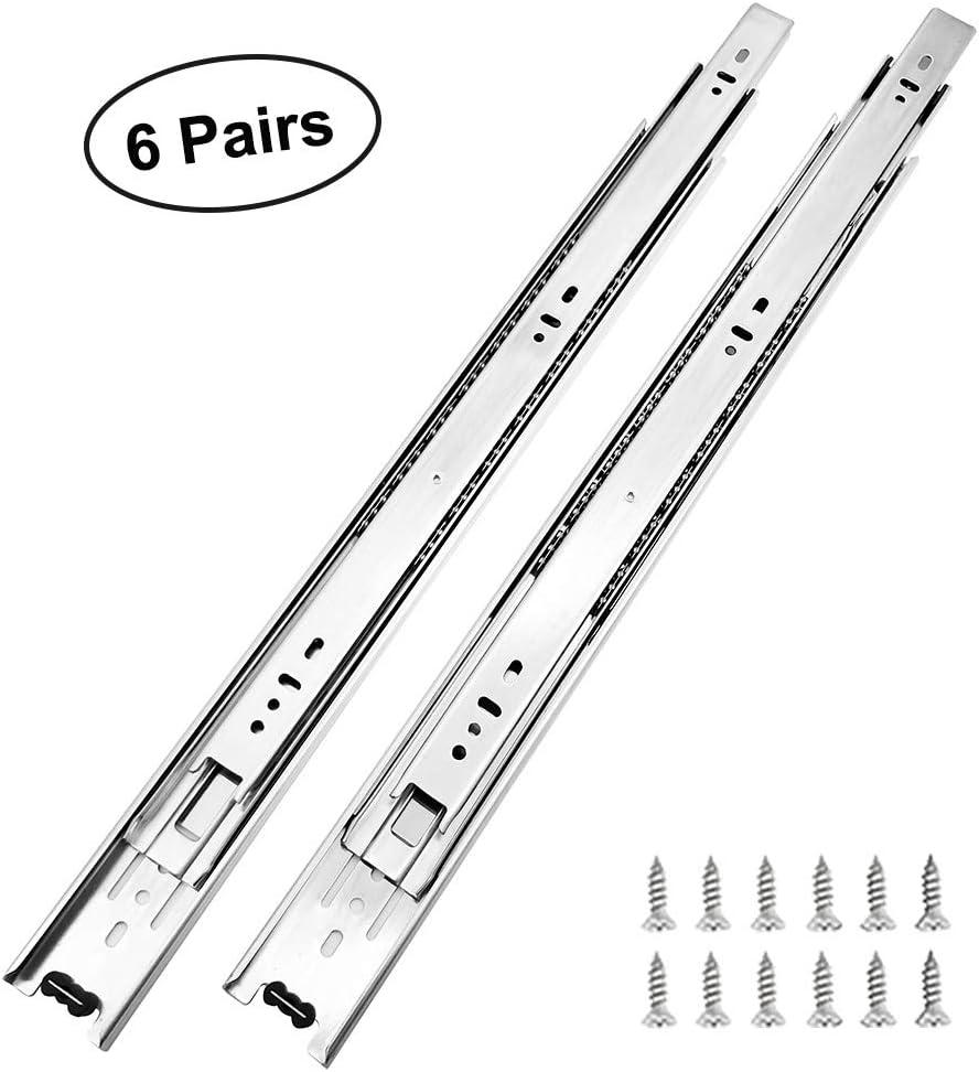 6 Pairs of 22 Inch Hardware 3-Section Full Extension Ball Bearing Side Mount Drawer Slides,100 LB Capacity Drawer Slide