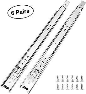 6 Pairs of 14 Inch Hardware 3-Section Full Extension Ball Bearing Side Mount Drawer Slides,100 LB Capacity Drawer Slide