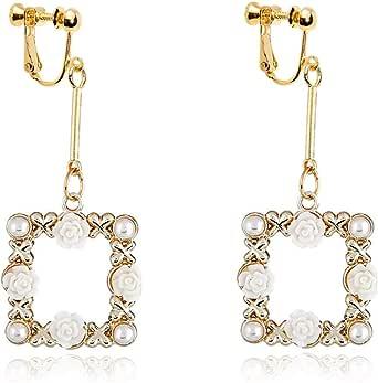 Faux Pearl Dangle Clip on Earrings non Pierced Charm Cute Flower Square Drop Women Girl Gold Plated