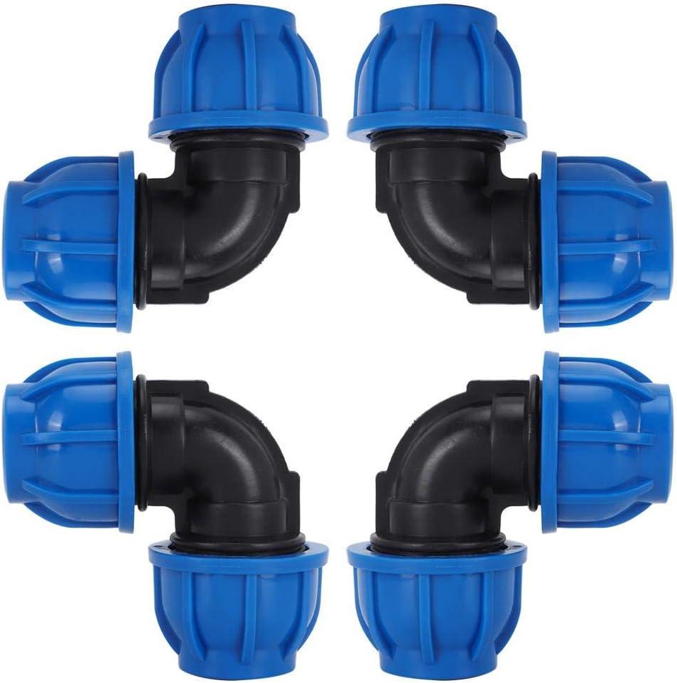 TOPINCN Conector adaptador de codo de tubería de agua de 32 mm a 32 mm, plástico PE, accesorios de conexión rápida para purificadores de agua potable