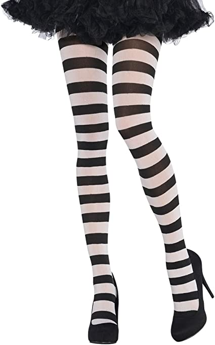 Black and White Striped Tights Women's Witch Opaque