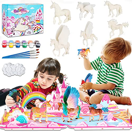 Mojitodon Unicorn Painting Kit with 3D Castle Play Mat Unicorn Arts and Crafts for Kids, DIY Unicorn Party Decorations Unicorn Toys for Birthday Gifts