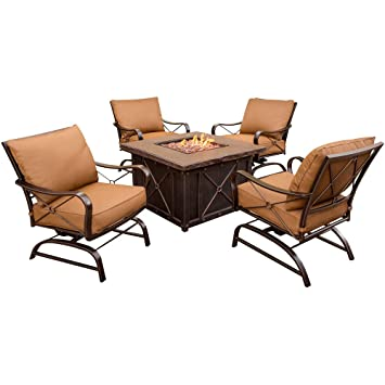 Hanover Summer Night 5 Piece Gas Fire Pit Set, Includes 4 Cushioned Rockers  And