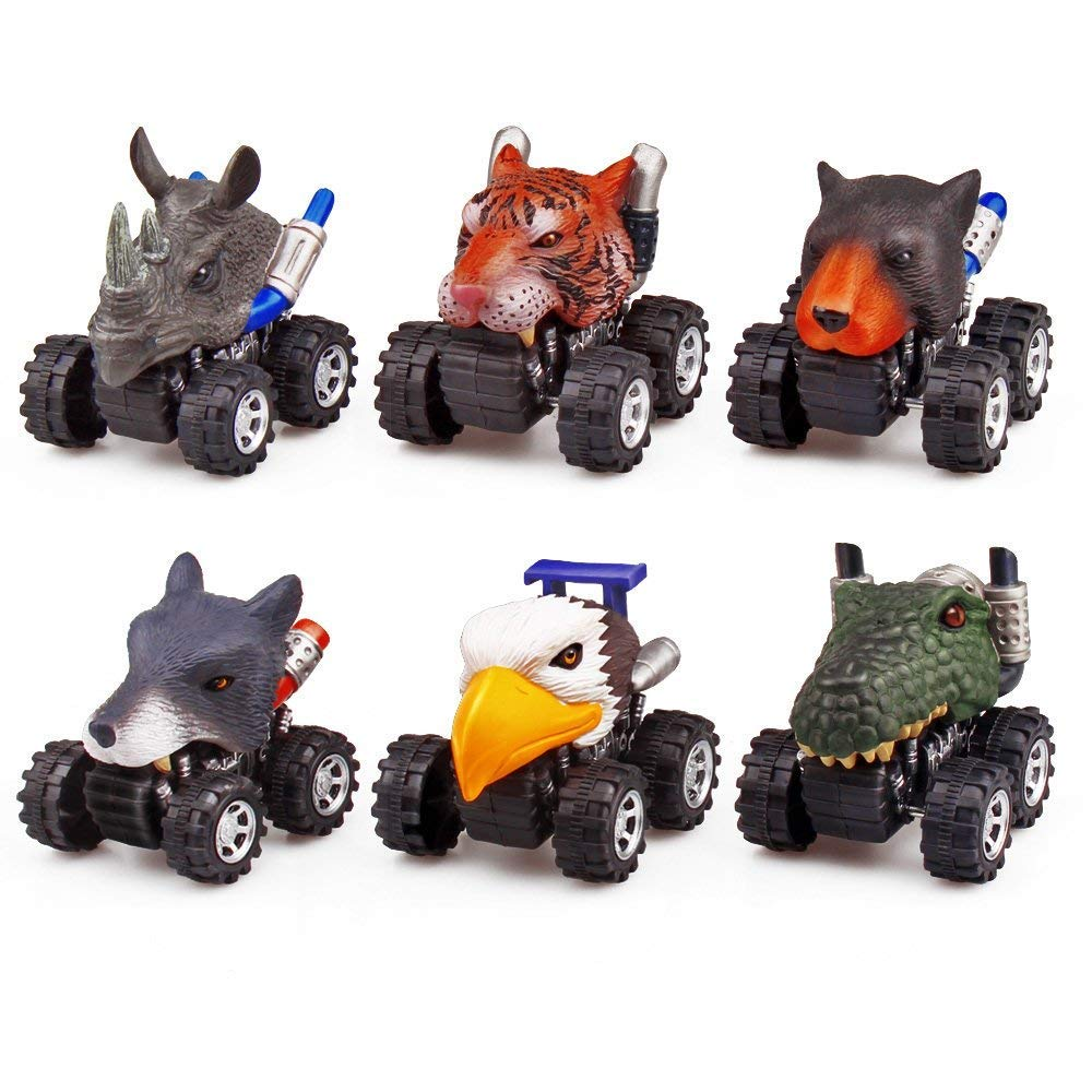 ZHMY Animal Pull back car, 6 PACK 2.8in MINI Animal Model Cars Gift Box 3-12 Year Old Boy and Girl Gifts (Animal01)