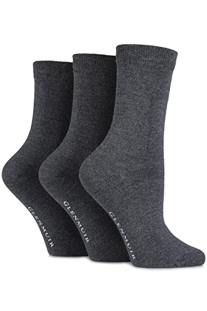 b626bc0ba98 Glenmuir Women s 3 Pair Classic Plain Bamboo Socks 5-9 Grey at Amazon  Women s Clothing store