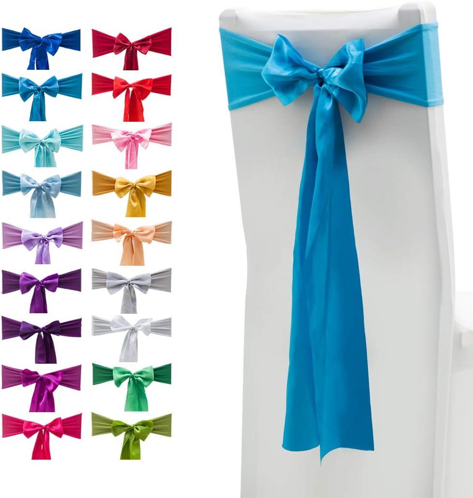 Set di 10 fasce elastiche per sedie, in elastan, con fiocchi in raso, da usare come decorazione per matrimoni, casa e feste 10 pezzi Blue