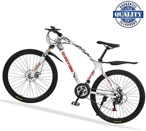 26 Bicicleta De Carretera, 24 Velocidad Bicicleta Montaña De Carbon Acero con Suspensión, Doble Freno De Disco Mecánico Bicis MTB para Mujer Hombre,Blanco,30 Spokes: Amazon.es: Hogar